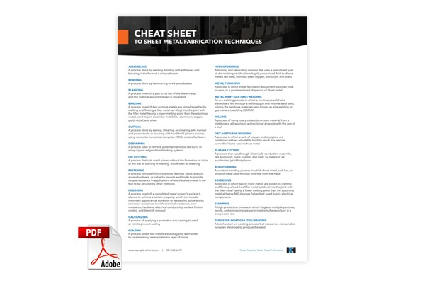 Download K&H's Metal Fabrication Techniques Cheat Sheet